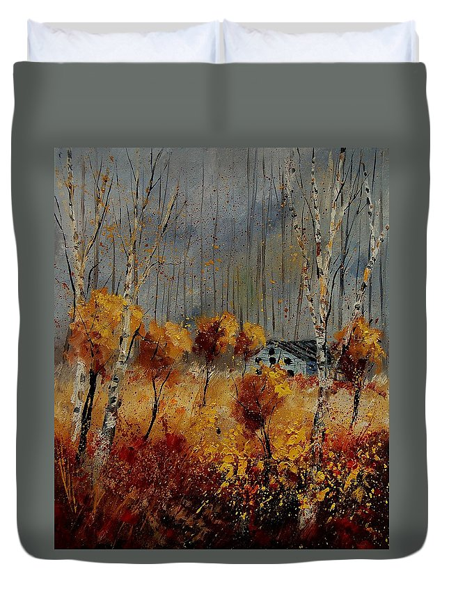Tree Duvet Cover featuring the painting Windy Autumn Landscape by Pol Ledent