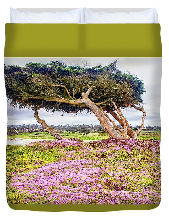 Big Sur Duvet Cover featuring the photograph Windy Tree by Gabriel Jardim