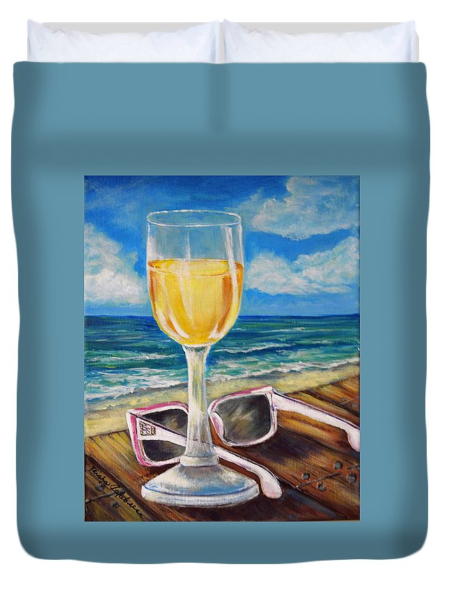Beach Duvet Cover featuring the painting Wine Ding Down by Trisha Calabrese