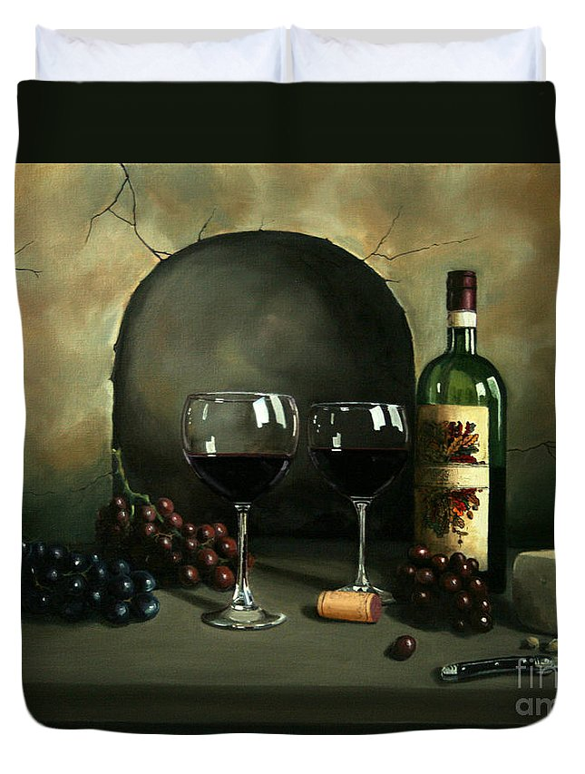 Wine Duvet Cover featuring the painting Wine For Two by Paul Walsh