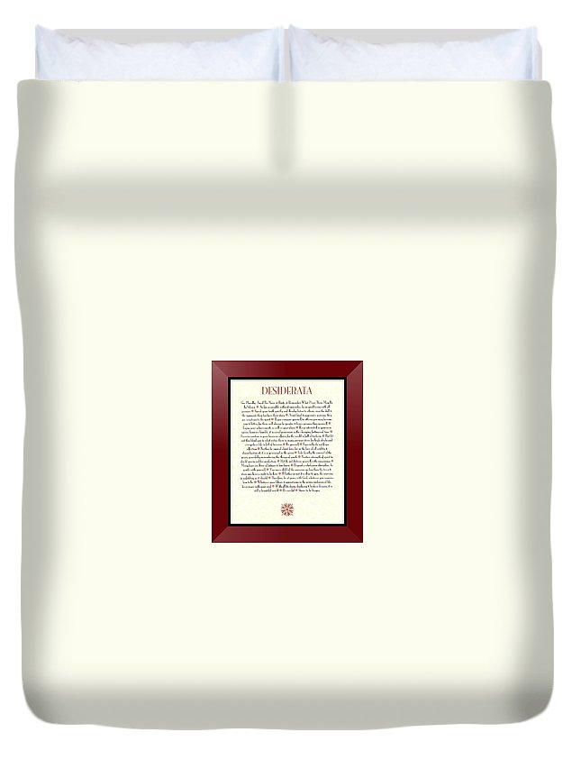 Desiderata Duvet Cover featuring the mixed media Wine Framed Sunburst Desiderata Poem by Desiderata Gallery