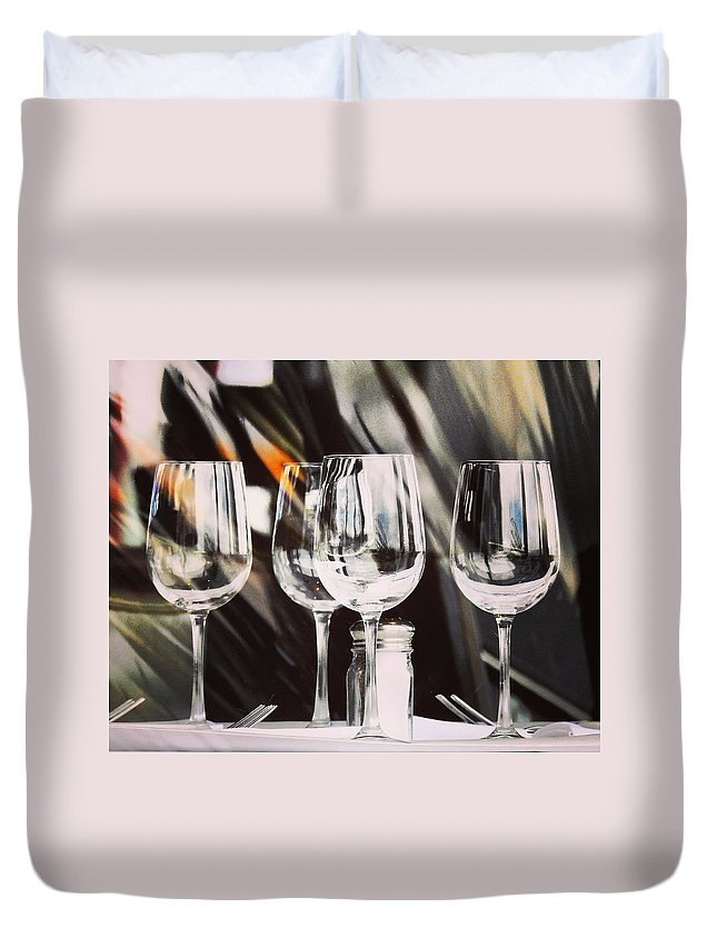 Wine Glass Duvet Cover featuring the photograph Wine Glasses by Greg Kear