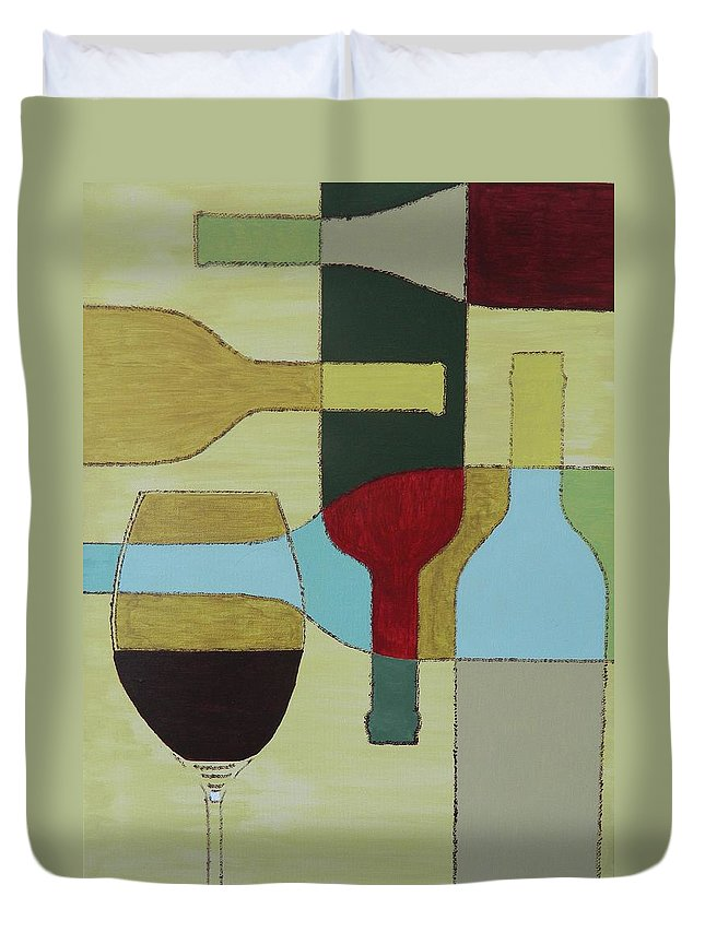 Painting Duvet Cover featuring the painting Wine by Ken Pursley