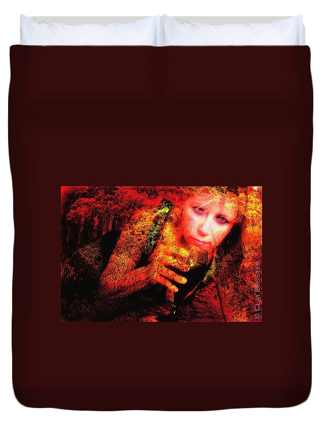 Clay Duvet Cover featuring the photograph Wine Woman And Fall Colors by Clayton Bruster