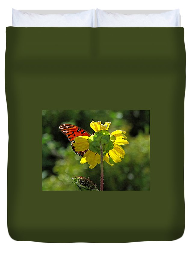 Nature Duvet Cover featuring the photograph Wing Flower by Peg Urban