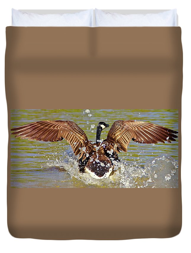 Wings Duvet Cover featuring the photograph Wing Spand by Yvette Winder