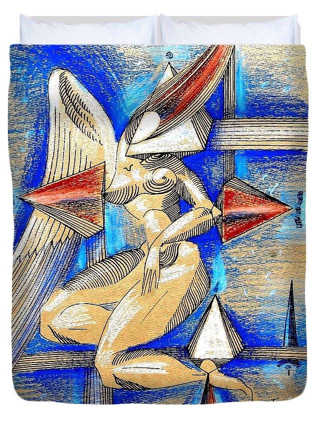 Inga Vereshchagina Duvet Cover featuring the drawing Winged Space by Inga Vereshchagina