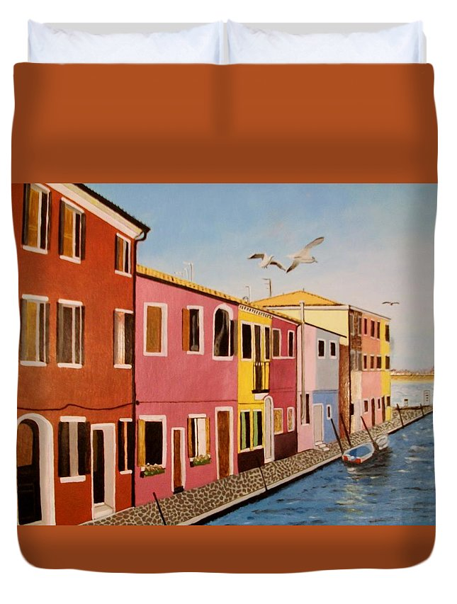 Venice Duvet Cover featuring the painting Wingin It In Venice by Tim Smith