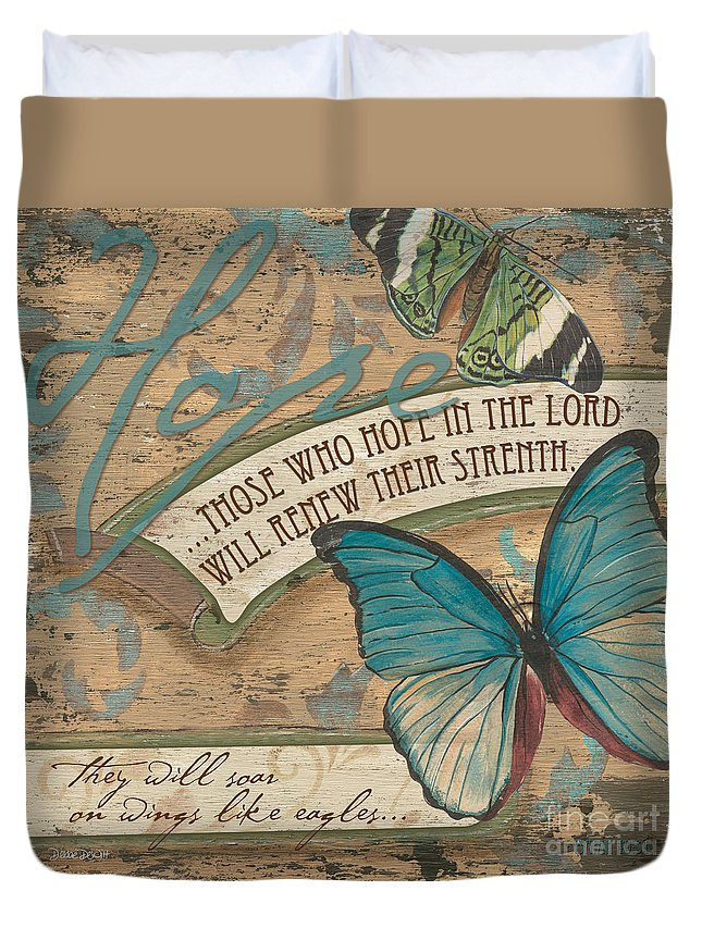 Butterfly Duvet Cover featuring the painting Wings of Hope by Debbie DeWitt