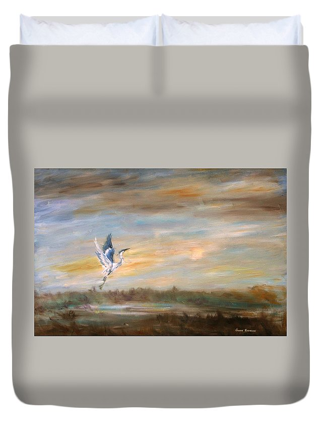 Blue Heron Duvet Cover featuring the painting Wings Of The Morning by Vivan Robinson