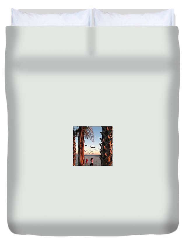 Landscape Duvet Cover featuring the photograph Wings Over The Palms by Christine DuMouchel
