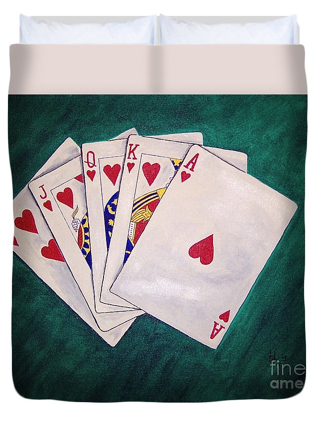 Playing Cards Wining Hand Role Flush Duvet Cover featuring the painting Wining Hand 2 by Herschel Fall