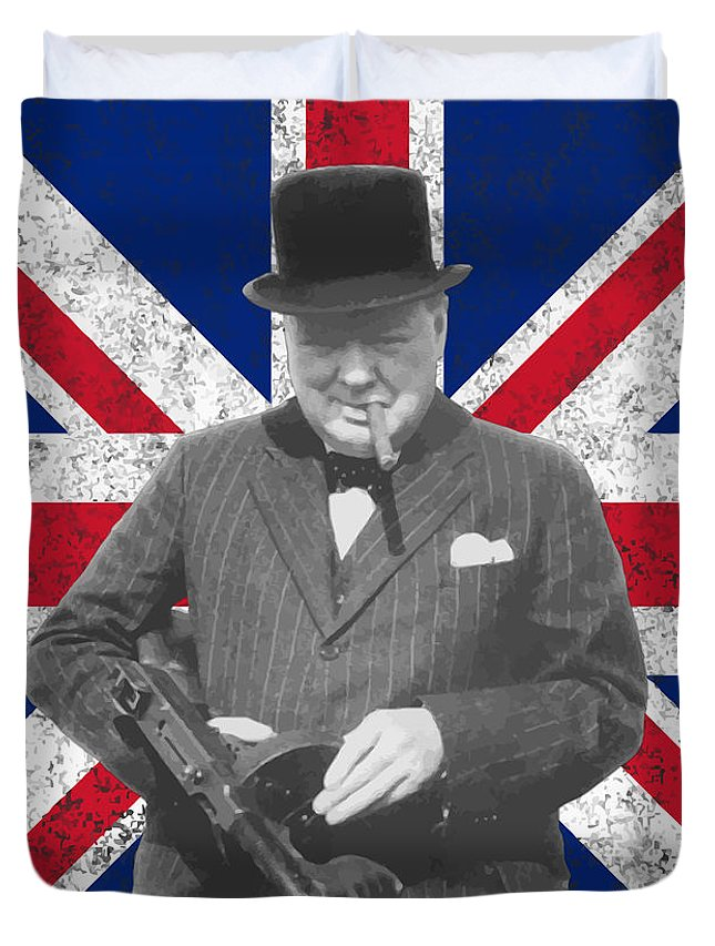Winston Churchill Duvet Cover featuring the painting Winston Churchill And His Flag by War Is Hell Store