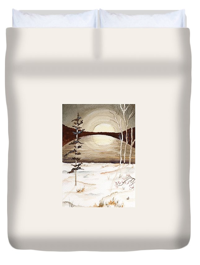 Watercolor Duvet Cover featuring the painting Winter Apex by Brenda Owen