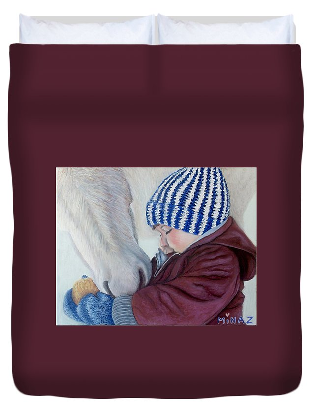 Horse Duvet Cover featuring the painting Winter Apples by Minaz Jantz