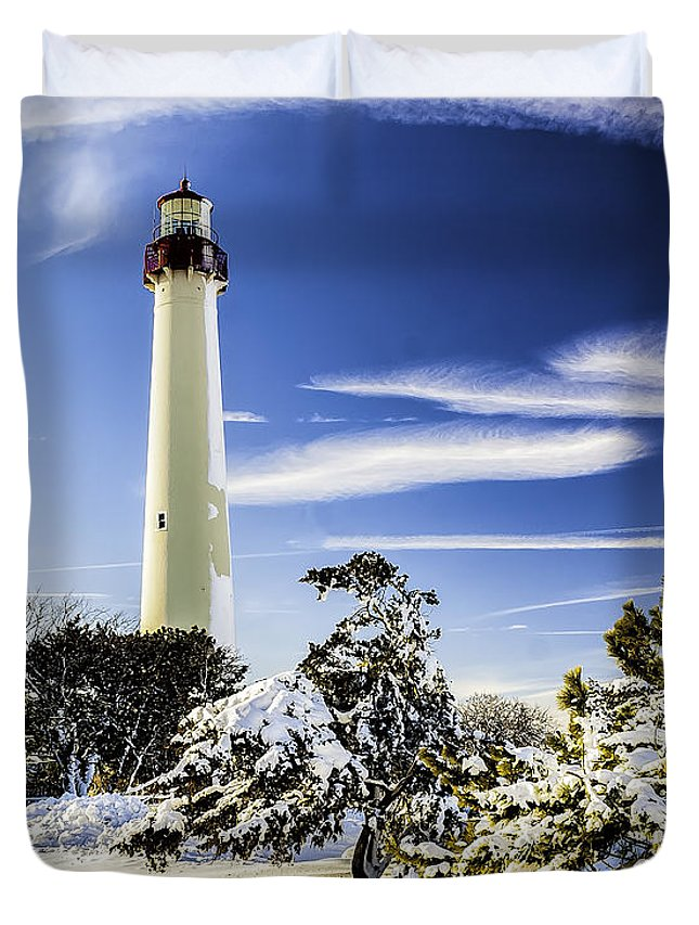 Beacon Duvet Cover featuring the photograph Winter At Cape May Light by Nick Zelinsky