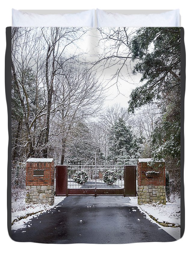 America Duvet Cover featuring the photograph Winter At The Gate by Jennifer White