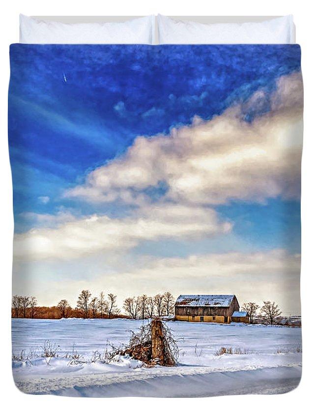 Barn Duvet Cover featuring the photograph Winter Barn 3 - Paint by Steve Harrington