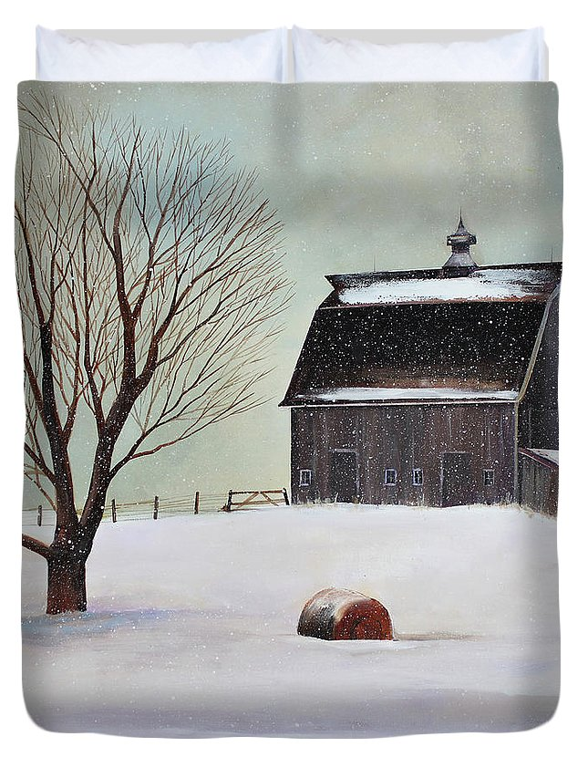 Barn Duvet Cover featuring the painting Winter Barn II by Toni Grote