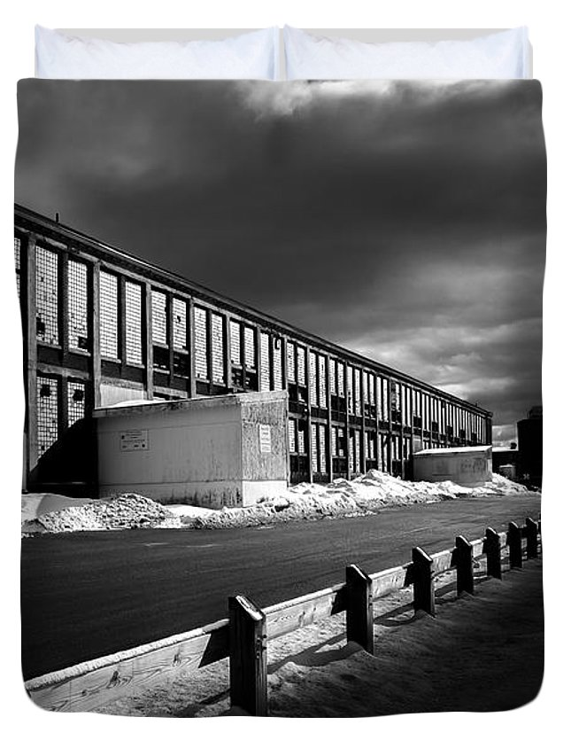 Bates Mill Duvet Cover featuring the photograph Winter Bates Mill by Bob Orsillo
