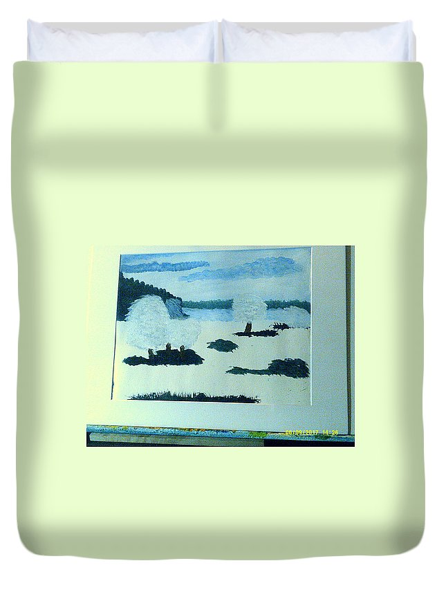 Landscape Duvet Cover featuring the painting Winter Beauty by Ray Martin