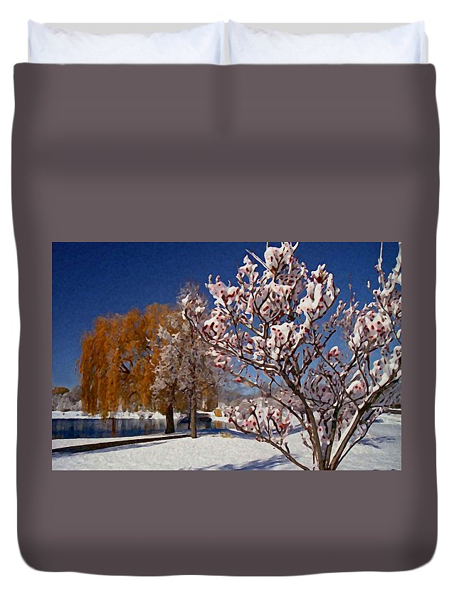 Winter Snow Duvet Cover featuring the photograph Winter Berries by Martin Massari