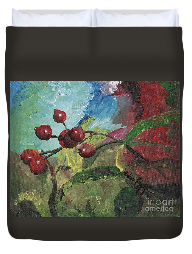 Berries Duvet Cover featuring the painting Winter Berries by Nadine Rippelmeyer