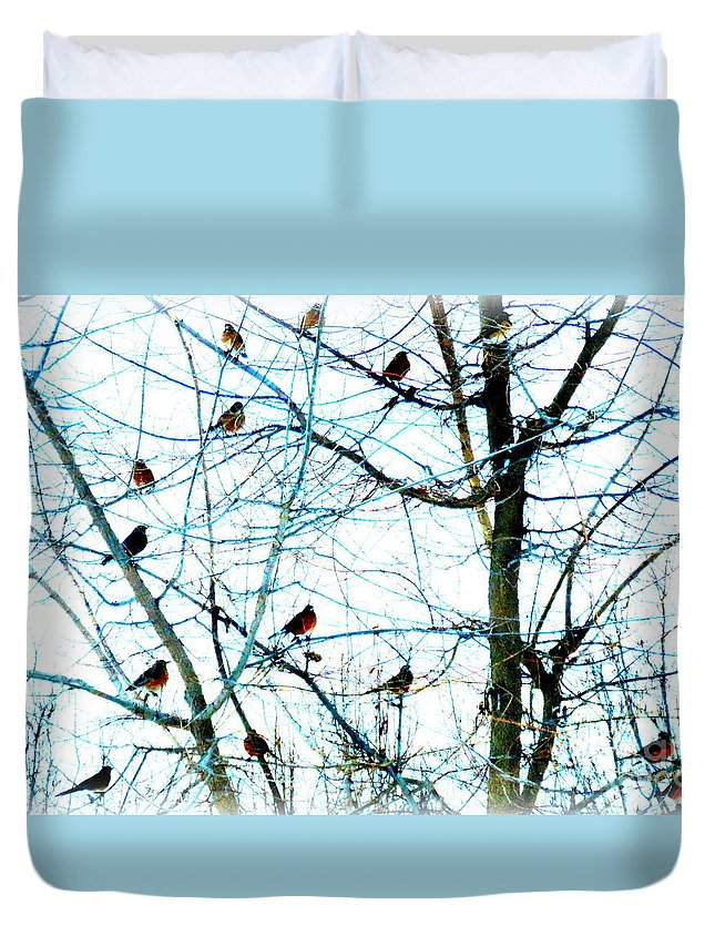 Diane Dittus Duvet Cover featuring the photograph Winter Birds 2 by Diane M Dittus