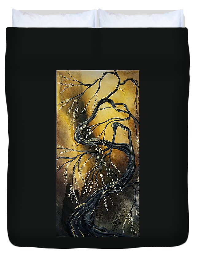 Art Duvet Cover featuring the painting Winter Blossom By Madart by Megan Duncanson