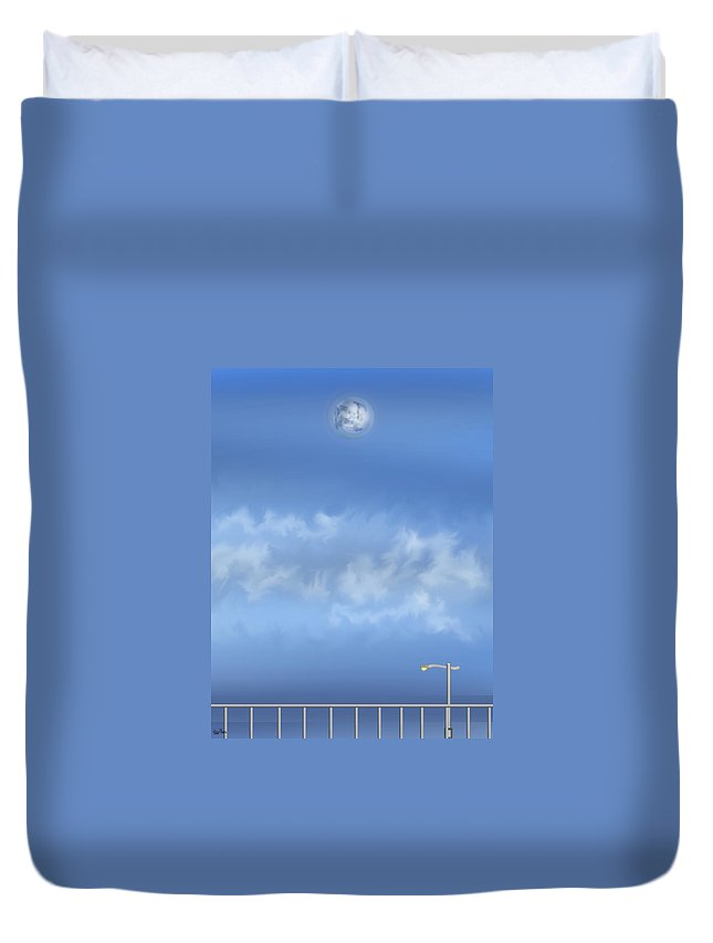 Moon Duvet Cover featuring the painting Winter Blue Moon At Three Forty Five In The Afternoon by Anne Norskog