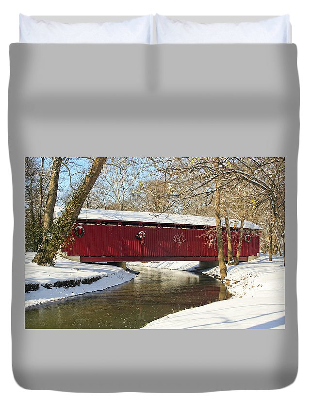 Covered Bridge Duvet Cover featuring the photograph Winter Bridge by Margie Wildblood