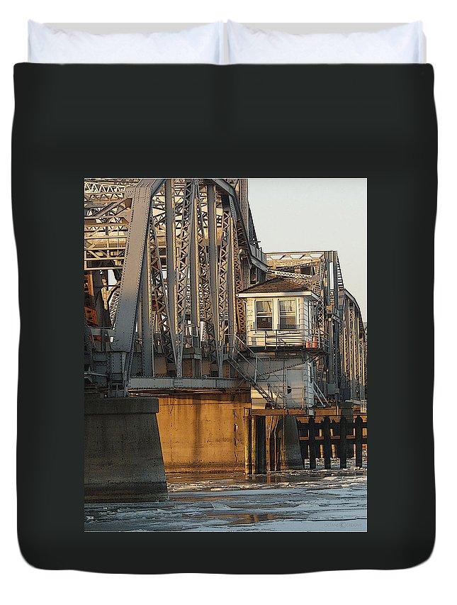Bridge Duvet Cover featuring the photograph Winter Bridgehouse by Tim Nyberg