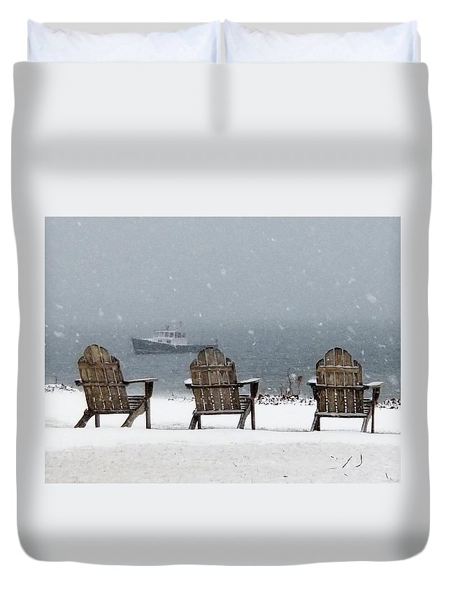Snow Duvet Cover featuring the photograph Winter By The Sea by John G Erlandson
