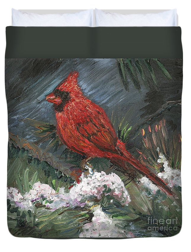 Bird Duvet Cover featuring the painting Winter Cardinal by Nadine Rippelmeyer