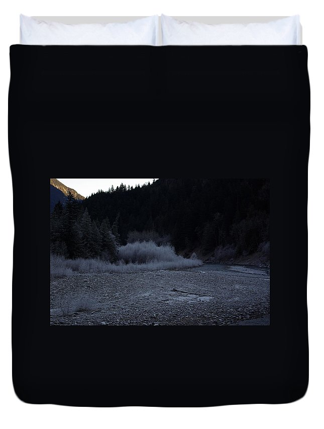 Winter Duvet Cover featuring the photograph Winter Creek by Cindy Johnston