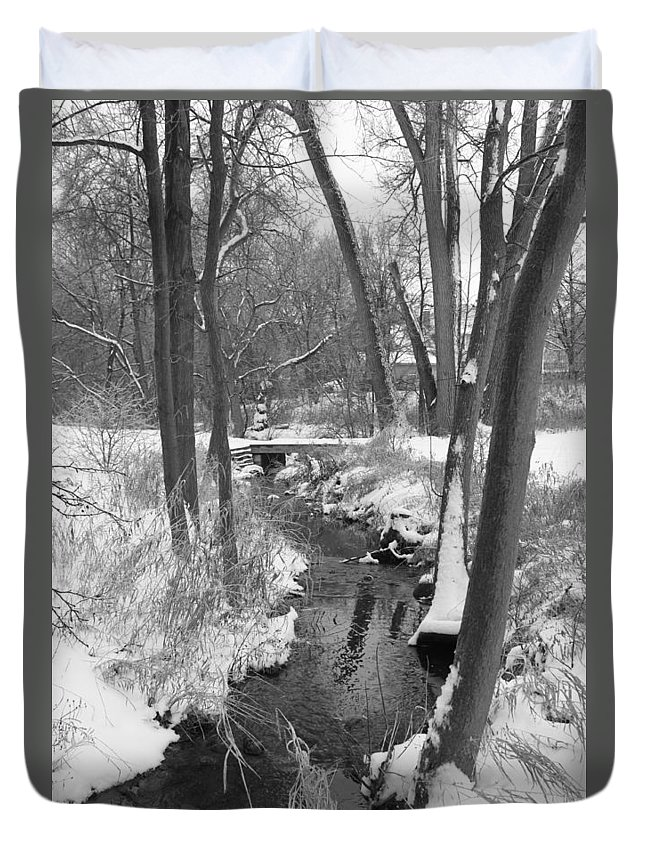 Snow Duvet Cover featuring the photograph Winter Creek by Lauri Novak