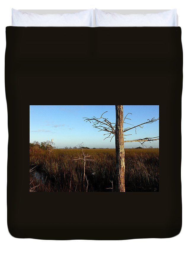 Cypress Trees Duvet Cover featuring the painting Winter Cypress by David Lee Thompson