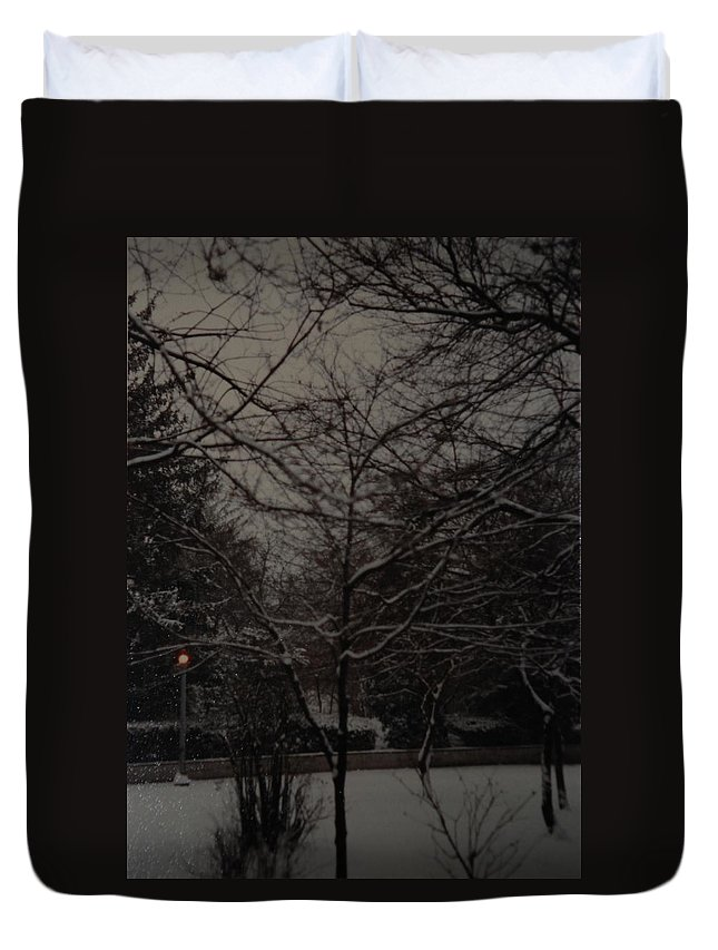 Lights Duvet Cover featuring the photograph Winter Dusk by Rob Hans