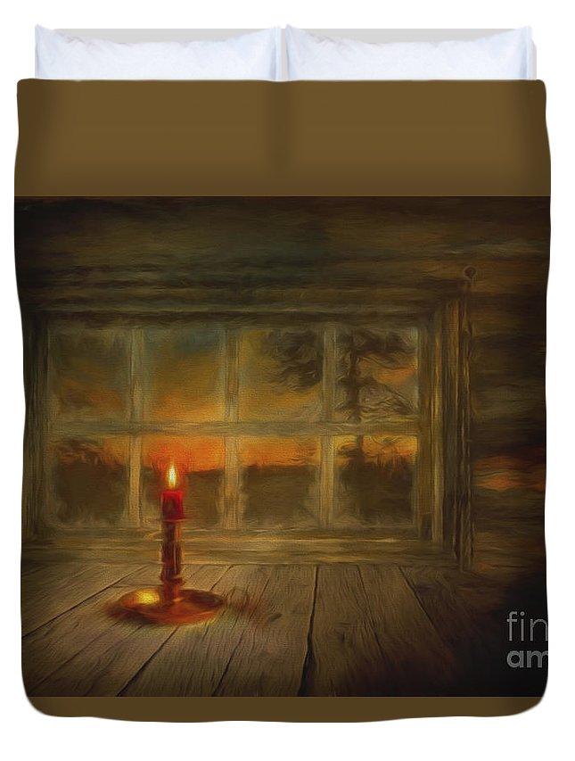 Art Duvet Cover featuring the painting Winter Evening by Veikko Suikkanen