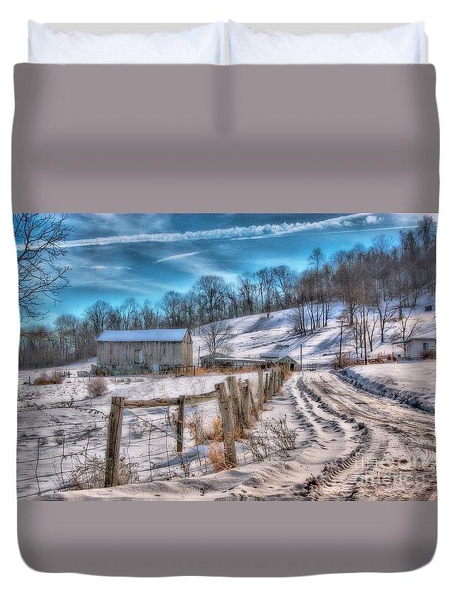 Barn Duvet Cover featuring the digital art Winter Farm Barn In Snow by Randy Steele