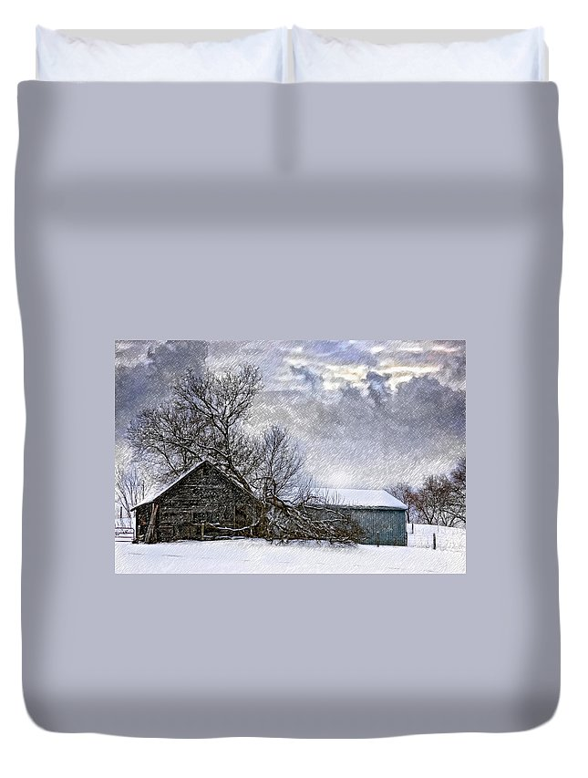 Winter Duvet Cover featuring the photograph Winter Farm by Steve Harrington