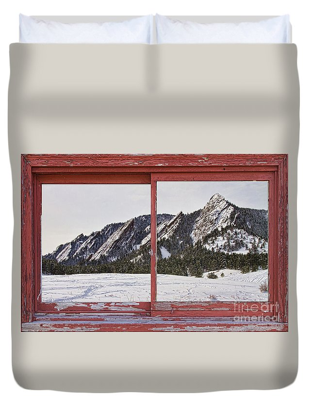 Picture Duvet Cover featuring the photograph Winter Flatirons Boulder Colorado Red Barn Picture Window Frame by James BO Insogna