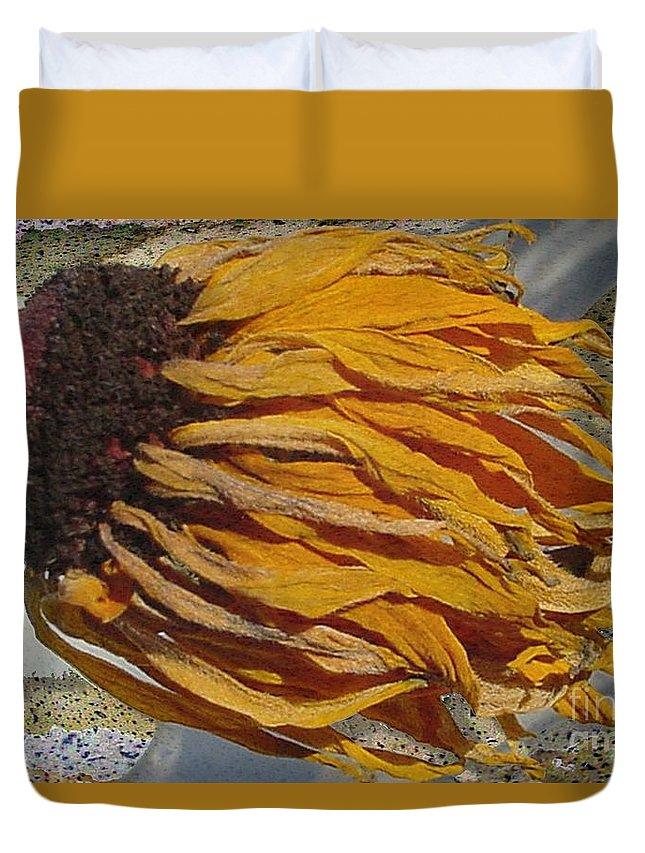 Digital Art Duvet Cover featuring the digital art Winter Flower by Ron Bissett