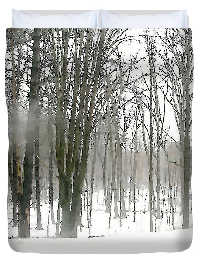 Nature Duvet Cover featuring the painting Winter Fog by Paul Sachtleben