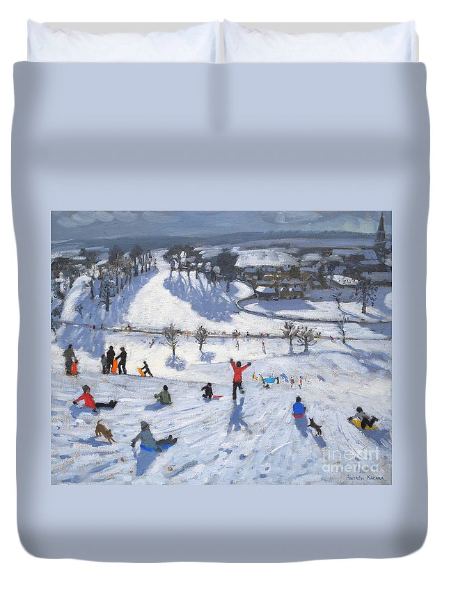 Winter Fun Duvet Cover featuring the painting Winter Fun by Andrew Macara