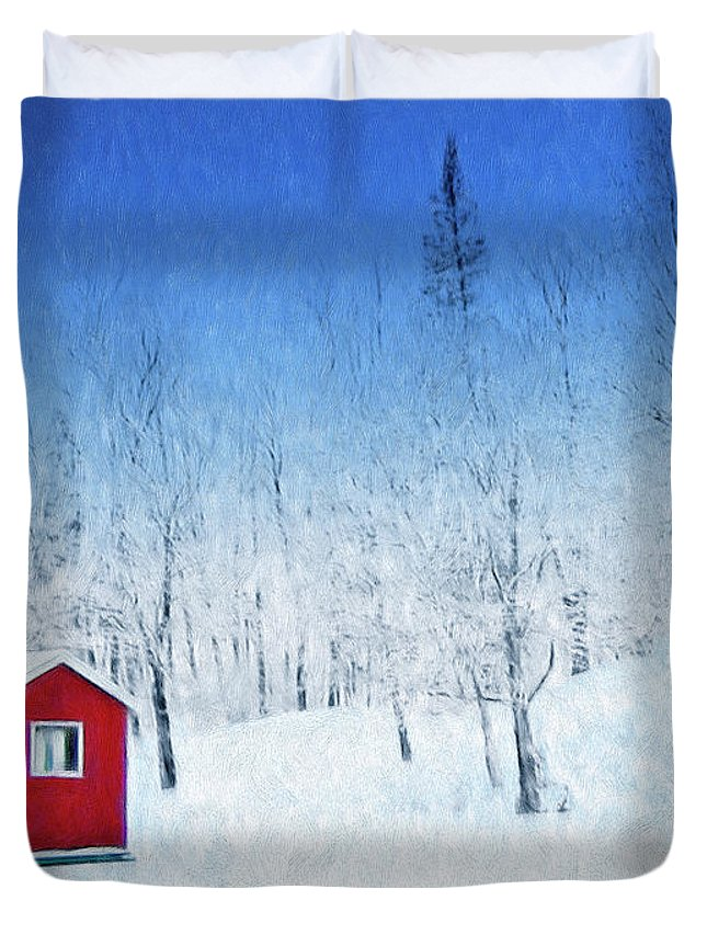 Winter Haven Duvet Cover featuring the painting Winter Haven by Dominic Piperata