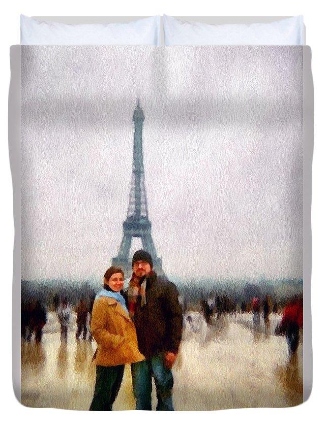 Europe Duvet Cover featuring the painting Winter Honeymoon In Paris by Jeffrey Kolker