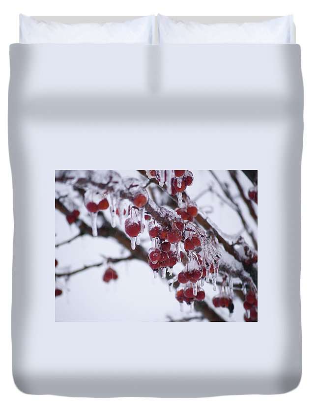 Ice Duvet Cover featuring the photograph Winter Ice Berries by Richard Larson