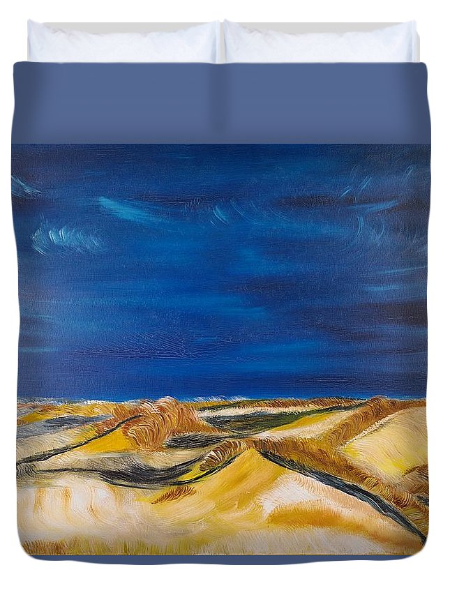 Island Duvet Cover featuring the painting Winter Impression Of Sylt by Valerie Ornstein