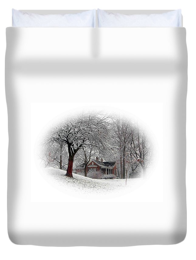 Winter Snow Duvet Cover featuring the photograph Winter In Bridgeton by John Lautermilch